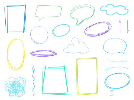 Colored set of hand drawn think and talk speech bubbles. Abstract frames on white. Pattern of loot for words. Line art creative. Collection of different signs. Colorful illustration Çizim