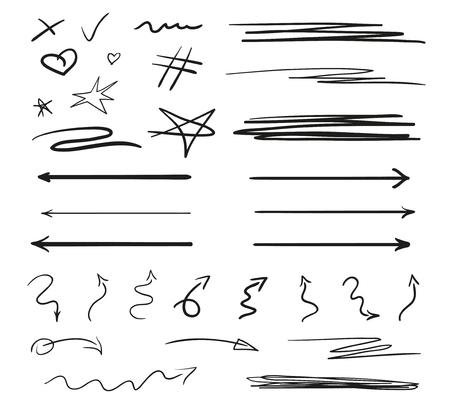 Infographic elementen op isolatie achtergrond. Achtergronden met reeks lijnen op wit. Ingewikkelde chaotische texturen. Hand getekende verwarde patronen. Zwart-wit afbeelding Vector Illustratie