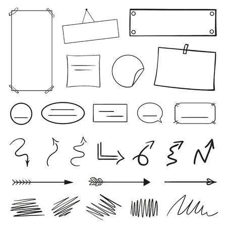 Infographic elements on isolation background. Hand drawn frames and arrows on white. Abstract frameworks. Line art. Set of different shapes. Black and white illustration. Doodles for artwork 일러스트