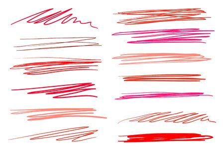 Sottolineature scritte disegnate a mano su bianco. Sfondi colorati con array di linee. Modelli caotici. Illustrazione colorata. Elementi abbozzati