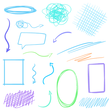 Infographic elements. Hand drawn lettering underlines on white. Colored backgrounds with array of lines. Abstract arrows. Colorful illustration. Sketchy elements for posters and flyers Illustration