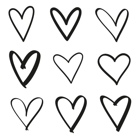 Hand drawn grunge hearts on isolated white background. Set of love signs. Unique image for design. Black and white illustration. Elements for design Vektorové ilustrace