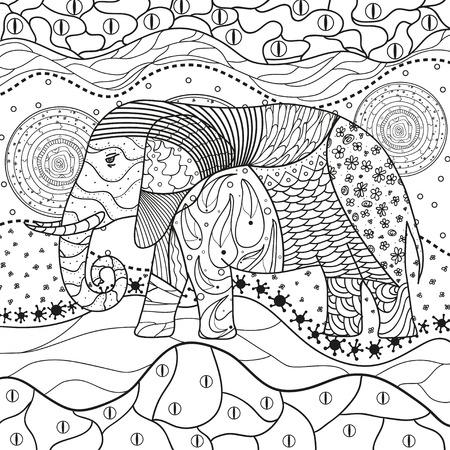 Abstraktes östliches Muster. Elefant auf quadratischem Mandala. Handgezeichnetes Tier mit Stammesmustern auf Isolationshintergrund. Design für spirituelle Entspannung für Erwachsene. Schwarz-Weiß-Abbildung