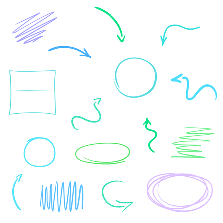 Colored infographic elements isolated on white. Set of sketchy shapes. Tangled hand drawn simple pointers. Line art. Abstract arrows. Symbols for work