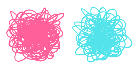 Colored tangled shapes on white. Chaos patterns. Scribble sketches. Colorful backgrounds with array of lines. Intricate chaotic textures. Art creation. Prints for banners, posters and t-shirts Illustration