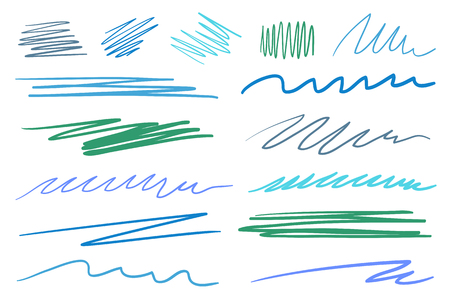 Hand drawn underlines on white. Colored backgrounds with array of lines. Chaotic patterns. Colorful illustration. Sketchy elements