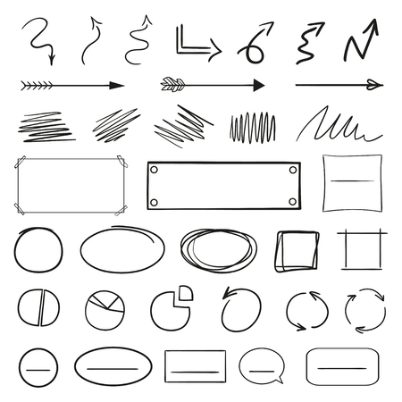 Infographic elements isolated on white. Set of different indicator signs. Sketchy elements. Hand drawn frames and arrows. Abstract frameworks. Line art. Black and white illustration