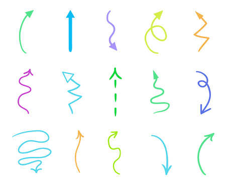 Hand drawn colored shapes on white. Abstract arrows. Line art. Set of different signs. Colorful illustration. Doodles for artwork
