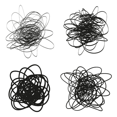 Set of chaos waved patterns on white. Tangled texture with lines. Hand drawn dinamic scrawls. Backgrounds with lines and waves. Prints for banners, posters, flyers and textiles Zdjęcie Seryjne - 125339385