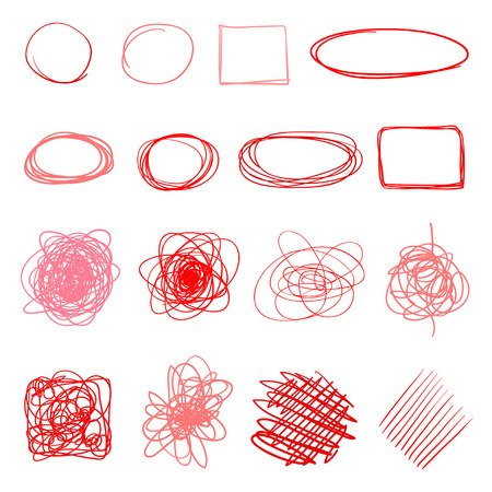 Hand drawn colored shapes on white. Abstract frameworks. Line art. Set of different signs. Doodles for artwork Zdjęcie Seryjne - 125339392