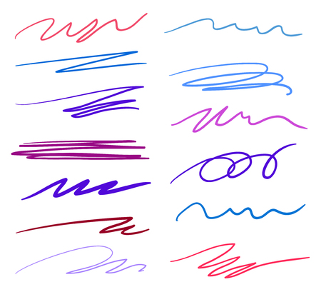 Hand drawn underlines on white. Abstract backgrounds with array of lines. Stroke chaotic patterns. Colorful illustration. Sketchy elements for posters and flyers