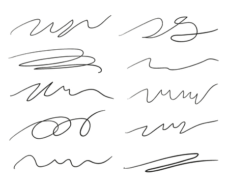 Hand drawn underlines on white. Abstract backgrounds with array of lines. Stroke chaotic patterns. Black and white illustration. Sketchy elements for posters and flyers Illustration