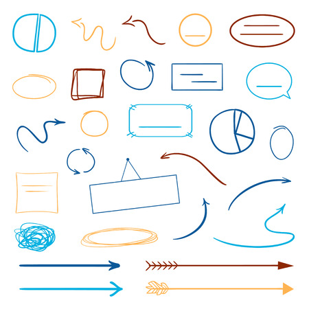 Infographic elements on isolated white background. Hand drawn colored shapes. Abstract frameworks and arrows. Line art. Set of different signs. Colorful illustration. Doodles for artwork
