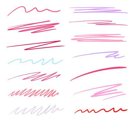 Hand drawn multicolored underlines on white. Abstract backgrounds with array of lines. Stroke chaotic patterns. Colorful illustration. Sketchy elements for posters and flyers