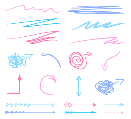 Hand drawn colored arrows on white. Abstract underlines and pointers. Line art creative. Set of different signs. Colorful illustration. Doodles for artwork