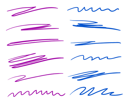 Hand drawn lettering underlines on white. Colored backgrounds with array of lines. Chaotic patterns. Colorful illustration. Sketchy elements