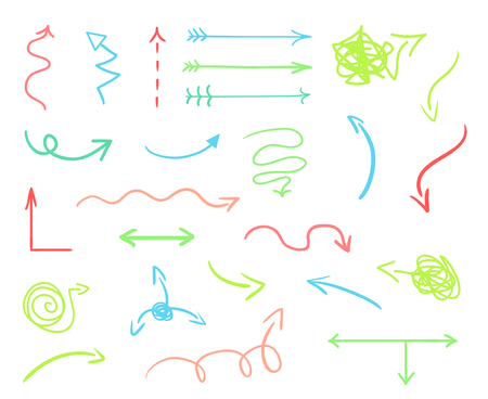 Hand drawn colored arrows on white. Abstract pointers. Line art creative. Set of different signs. Colorful illustration. Doodles for artwork