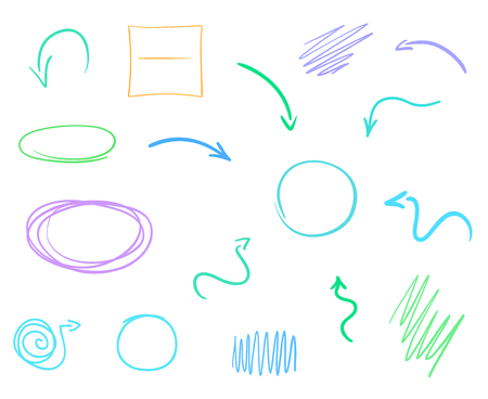 Infographic elements. Hand drawn geometric shapes on white. Colored backgrounds with array of lines. Abstract arrows. Colorful illustration. Sketchy elements for posters and flyers