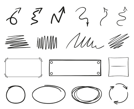 Infographic elements isolated on white. Set of different indicator signs. Sketchy hand drawn frames and arrows. Abstract frameworks. Line art. Black and white illustration