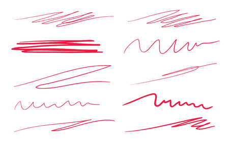 Hand drawn abstract underlines on white. Colored backgrounds with array of lines. Chaotic patterns. Colorful illustration. Sketchy elements Çizim