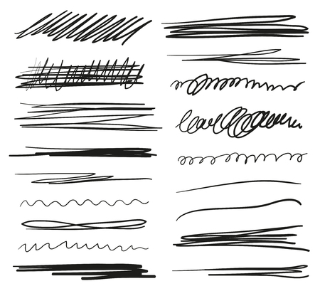 Hand drawn underlines on white. Abstract backgrounds with array of lines. Stroke chaotic patterns. Black and white illustration. Sketchy elements for posters and flyers Çizim