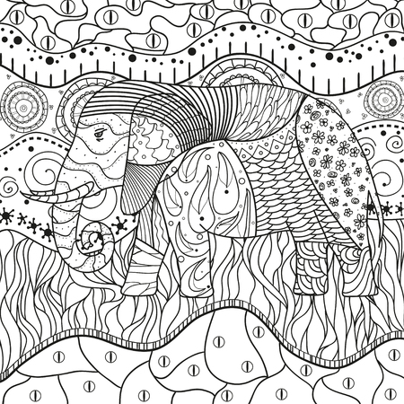 Elephant on abstract mandala. Hand drawn animal with tribal patterns on isolation background. Design for spiritual relaxation for adults. Black and white illustration for coloring. Illustration