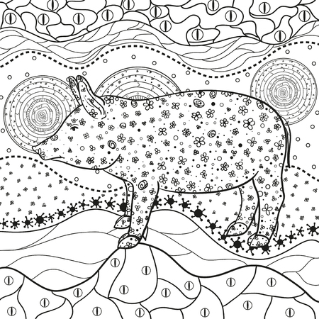 Abstract eastern pattern. Ornate square wallpaper with pig. Hand drawn waved ornaments on white. Intricate patterns on isolated background. Design for spiritual relaxation for adults. Line art