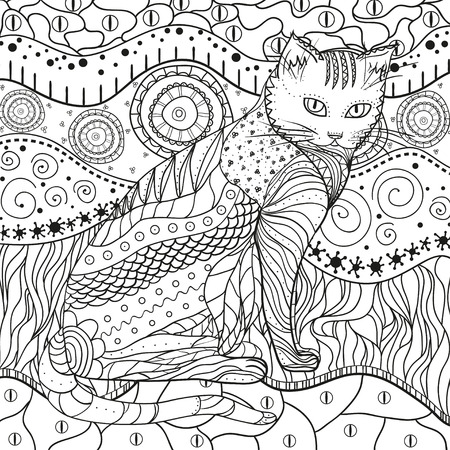 Hand drawn intricate texture with abstract patterns. Asian background with cat on isolated white. Illustration for coloring. Design for spiritual relaxation for adults Çizim