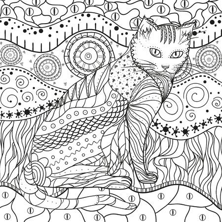 Trama intricata disegnata a mano con motivi astratti. Sfondo asiatico con gatto su bianco isolato. Illustrazione per la colorazione. Design per il relax spirituale per adulti
