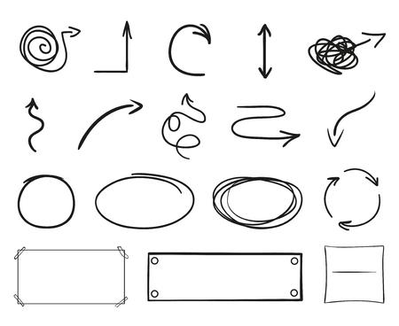 Éléments d'infographie sur fond d'isolement. Collection de flèches sur blanc. Signes pour la conception. Pointeurs simples dessinés à la main. Dessin au trait. Cercles abstraits. Griffonnages pour le travail Vecteurs
