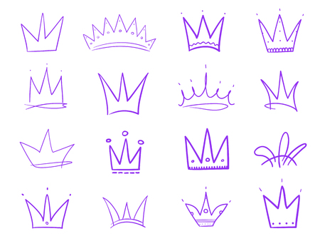 Set of crowns on isolated white. Signs for design. Hand drawn simple objects. Line art. Colorful illustration. Sketchy elements for posters and flyers