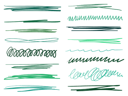 Hand drawn colored underlines on white. Abstract backgrounds with array of lines. Stroke chaotic patterns. Colorful illustration. Sketchy elements for posters and flyers Çizim
