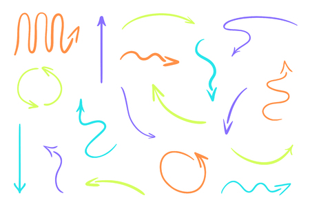 Hand drawn colored arrows on white. Abstract pointers. Line art creative. Set of different signs. Colorful illustration