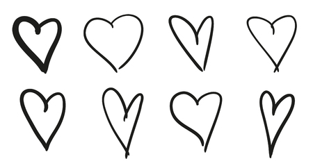 Hand drawn hearts on isolated white background. Set of love signs. Black and white illustration. Sketchy elements for design