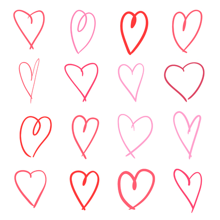 Colorful hearts on isolated white background. Hand drawn set of love signs. Unique abstract image for design. Line art creation. Colored illustration. Elements for poster or flyer