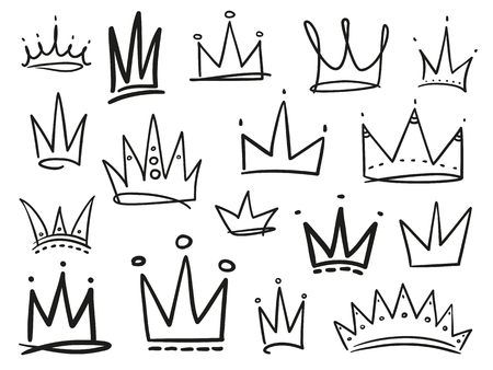 Infographic elements on isolation background. Collection of crowns on white. Hand drawn simple objects. Line art. Black and white illustration. Elements for design