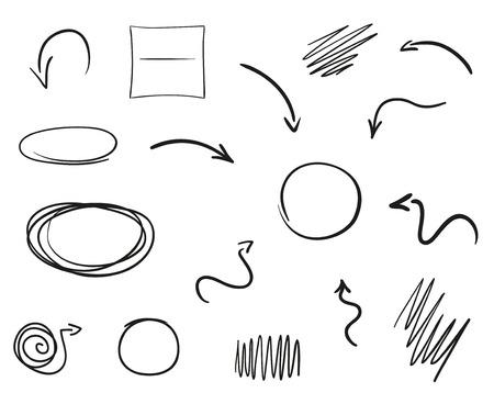 Infografik-Elemente auf weißem Hintergrund isoliert. Handgezeichnete einfache Pfeile. Satz verschiedene geometrische Formen. Abstrakte Indikatoren. Schwarz-Weiß-Abbildung