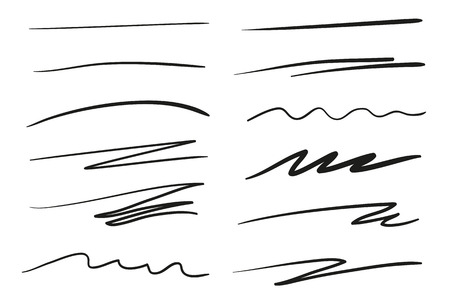Hand drawn underlines on white. Abstract backgrounds with array of lines. Stroke chaotic patterns. Black and white illustration. Sketchy elements Ilustração