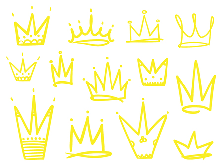 Set of crowns on white. Signs for design. Hand drawn simple objects. Line art. Colorful illustration. Sketchy elements for posters and flyers Illustration