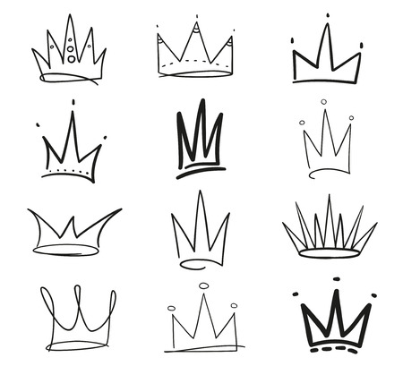 Collection of crowns on white. Hand drawn simple objects. Line art. Black and white illustration. Elements for design Illustration