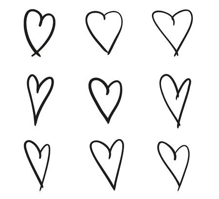 Hand drawn abstract hearts on isolated white background. Black and white illustration. Sketchy elements for design Фото со стока - 119010092