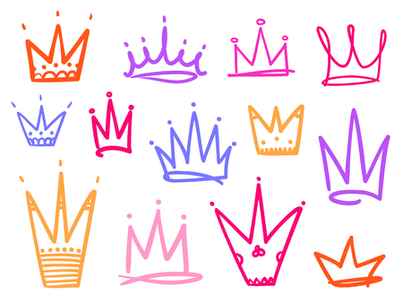 Set of crowns on white. Signs for design. Hand drawn simple objects. Line art. Colorful illustration. Sketchy elements for posters and flyers 向量圖像