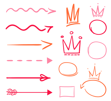 Infographic elements on isolation background. Set of arrows and crowns on white. Signs for design. Hand drawn simple objects. Line art. Colorful illustration. Sketchy elements for posters and flyers Vectores