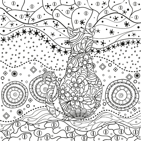 Abstract asian pattern with ornate cat on isolated white. Hand drawn abstract patterns on isolation background. Design for spiritual relaxation for adults. Black and white illustration