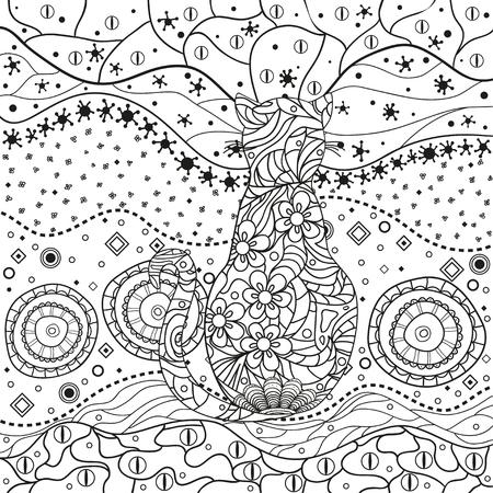 Abstraktes asiatisches Muster mit verzierter Katze auf lokalisiertem Weiß. Handgezeichnete abstrakte Muster auf Isolationshintergrund. Design für spirituelle Entspannung für Erwachsene. Schwarz-Weiß-Abbildung