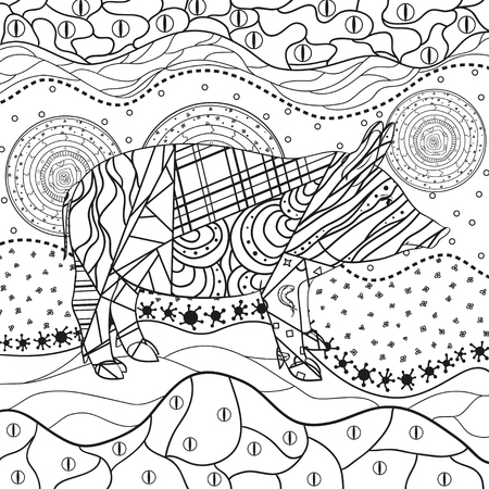 Monochrome wallpaper with ornate pig. Hand drawn waved ornaments on white. Abstract patterns on isolated background. Design for spiritual relaxation for adults. Line art. Black and white illustration