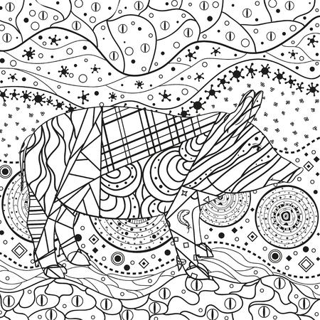 Carta da parati monocromatica con maiale ornato. Ornamenti ondulati disegnati a mano su bianco. Modelli astratti su sfondo isolato. Design per il relax spirituale per adulti. Linea artistica. Illustrazione in bianco e nero Vettoriali