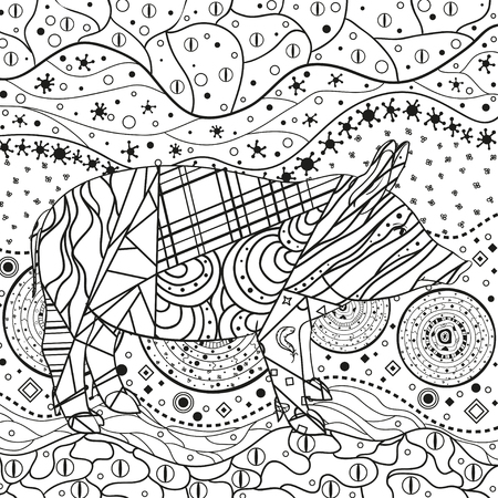 Monochrome wallpaper with ornate pig. Hand drawn waved ornaments on white. Abstract patterns on isolated background. Design for spiritual relaxation for adults. Line art. Black and white illustration Vetores
