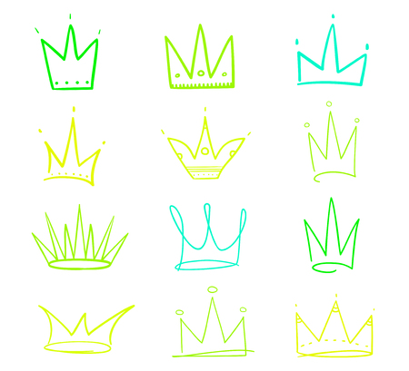 Set of abstract crowns on isolated white. Signs for design. Hand drawn simple objects. Line art. Colorful illustration. Sketchy elements for posters and flyers