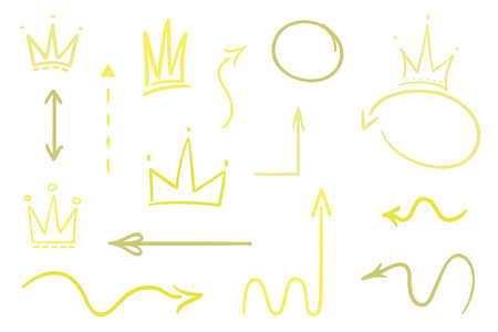 Infographic elements on isolated white background. Hand drawn colored pointers and crowns on white. Abstract arrows. Line art. Set of different signs. Colorful illustration